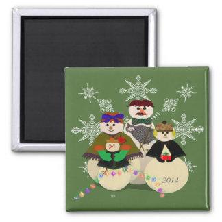 U escoge navidad del 3ro bebé del muñeco de nieve imán cuadrado