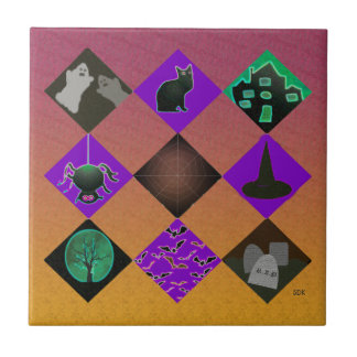 U escoge pendiente/el truco o la invitación de azulejo cuadrado pequeño