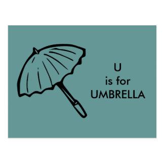 """""""U"""" está para el alfabeto Flashcard del paraguas Tarjeta Postal"""