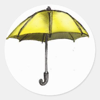 U está para el paraguas etiqueta redonda