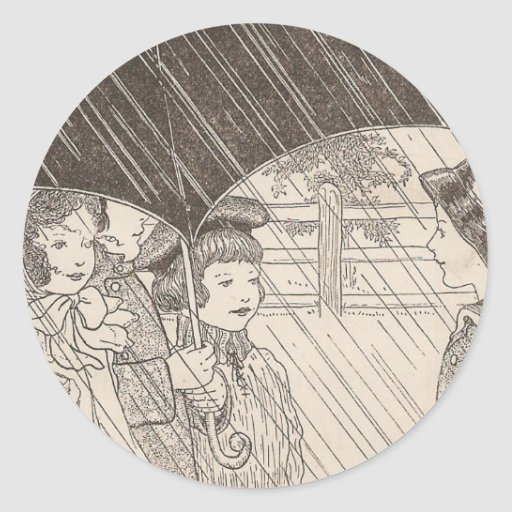 U está para el paraguas pegatina redonda