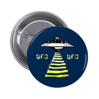U.F.O blanco y amarillo - en azul Pin Redondo De 2 Pulgadas