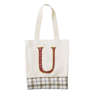 "U Faux-""Ruby"" Monogram Zazzle HEART Tote Bag"