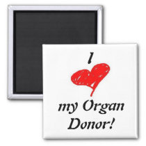 u) I heart my organ donor - Square Magnet