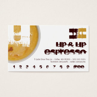 U - Initial Letter Foamy Coffee Cup Loyalty Punch Business Card