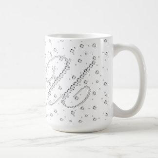 U Initial Monogram White Diamonds Print Coffee Mug