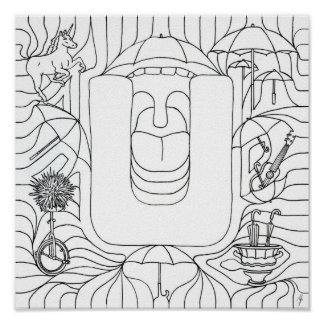 U Is For Umbrella Color In Letter Poster