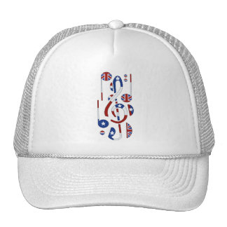 U K and USA Flag Musical Notes Mesh Hat