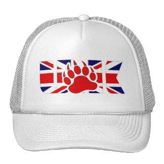 U K BEAR - RED PAW ON THE FLAG -Trucker Hat