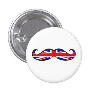 U.K. Flag Mustache 1 Inch Round Button