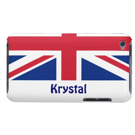 U.K. Flag/Personalize Name Barely There iPod Cases