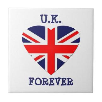 U.K.-Forever!-Union Jack Heart Small Square Tile