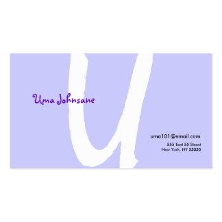 U Letter Alphabet Business Card Purple