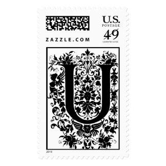 U letter ~  Monogram  Stamp