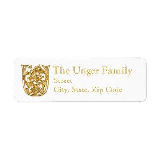 "U Monogram ""Irish Gold"" design Address Labels"