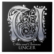"""U Monogram """"Silver Lace on Black"""" with Names Tile"""