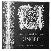 """U Monogram """"White Lace on Black"""" Wedding Tile"""