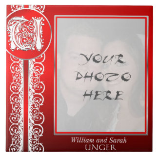 """U Monogram """"White Lace on Red"""" with Photo - Tile"""