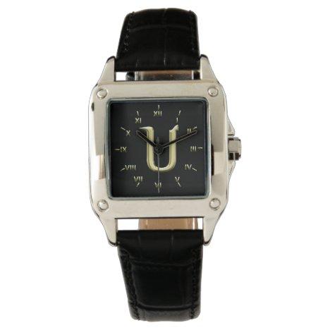 U Monogrammed with Roman Numerals Wrist Watch