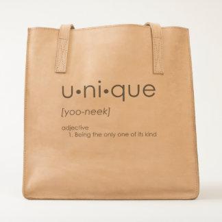 U•ni•que Leather Tote Bag