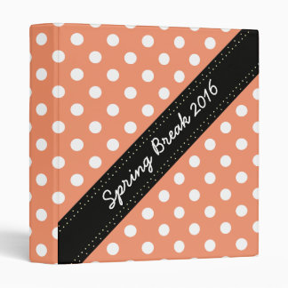 U-pick Background Color/ Classic White Polka Dots 3 Ring Binder