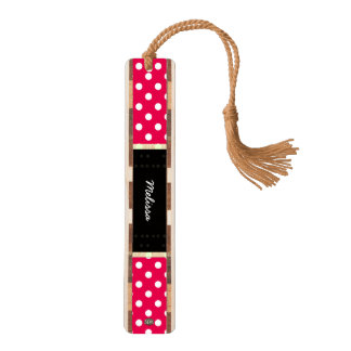 U-pick Background Color/ Classic White Polka Dots Bookmark