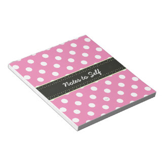U-pick Background Color/ Classic White Polka Dots Notepad