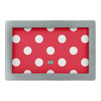 U-pick Background Color/ Classic White Polka Dots Rectangular Belt Buckle