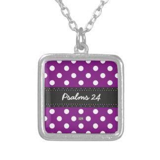 U-pick Background Color/ Classic White Polka Dots Square Pendant Necklace