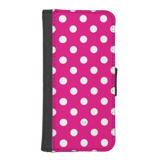 U-pick Background Color/ Classic White Polka Dots Wallet Phone Case For iPhone SE/5/5s
