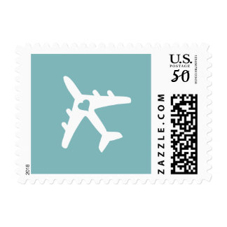 U PICK BKG COLOR! Airplane Destination Wedding Postage