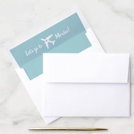 U PICK COLOR Airplane Travel Destination Wedding Envelope Liner