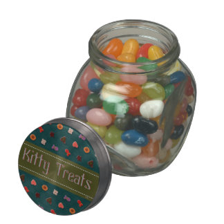 U Pick Color Background/ Kitty Cat Treat Jelly Belly Candy Jar