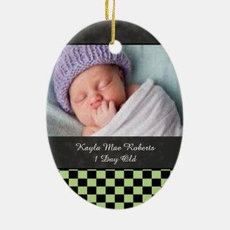 U-pick Color Black Checkered Tiles Baby Keep Sake Ceramic Ornament