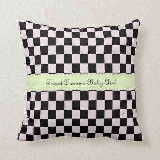 U-pick Color Black Checkered Tiles Personalized Throw Pillow