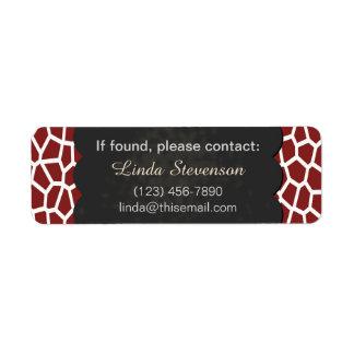 U pick Color/ Brown Giraffe Print Blackboard Chalk Label