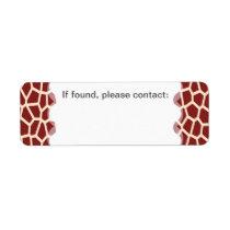 U pick Color/ Brown Giraffe Print in Mosaic Tile Label