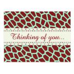 U pick Color/ Brown Giraffe Print in Mosaic Tile Postcard