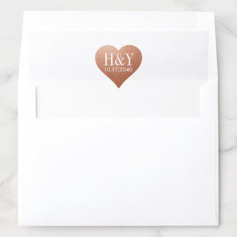 U PICK COLOR Copper Heart Wedding Monogram Date Envelope Liner