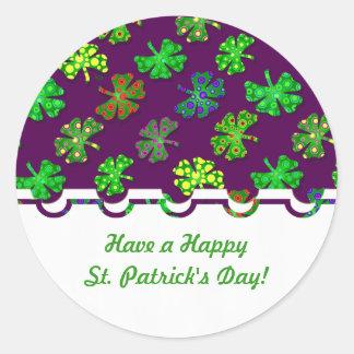 U-pick Color/ Exotic Irish Shamrocks 4 Leaf Clover Classic Round Sticker