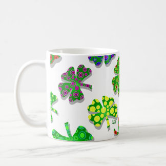 U-pick Color/ Exotic Irish Shamrocks 4 Leaf Clover Coffee Mug