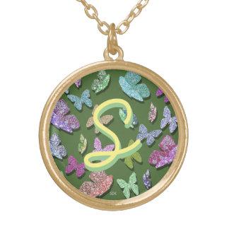 U pick Color/ Fluttering Textured Butterflies Round Pendant Necklace
