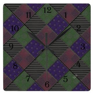 U Pick Color/ Garden Lattice Shimmery Velvet Quilt Square Wall Clock