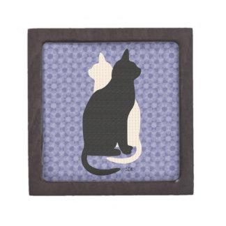 U Pick Color/Good Luck Black and White Kitty Cats Premium Keepsake Box