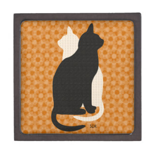 U Pick Color/Good Luck Black and White Kitty Cats Premium Keepsake Boxes
