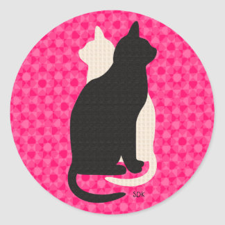 U Pick Color/Good Luck Black and White Kitty Cats Round Stickers