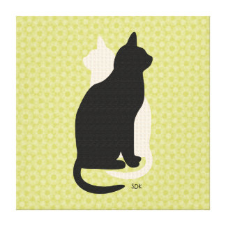 U Pick Color/Good Luck Black & White Kitty Catz Canvas Print