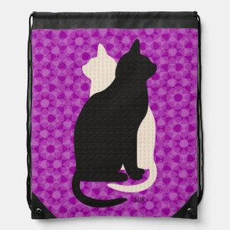 U Pick Color/Good Luck Black & White Kitty Catz Drawstring Bag