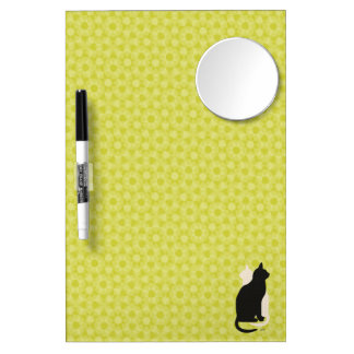 U Pick Color/Good Luck Black & White Kitty Catz Dry Erase Board With Mirror
