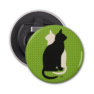 U Pick Color/ Good Luck Black White Kitty Catz Duo Bottle Opener
